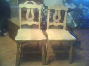 2 vintage maple dining chairs