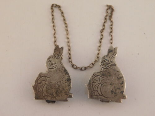 WEBSTER STERLING BUNNY RABBIT SWEATER CLIPS VINTAGE
