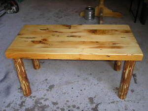 Rustic Pine & Log Coffee Table