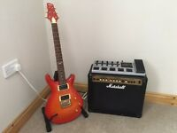 VRS100 Vintage PRS Replica Guitar with 30W Marshall Practice Amp and Korg AX1500G pedal