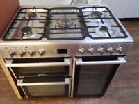 5 Burner Dual fuel Leisure Range cooker 90cm Stainless steel