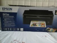 Epson stylus SX130 printer. Print-Scan-Copy. With DVD disc , powercable, manual. Requires new inks