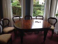 Mahogany Dinning table and six mahogany chairs