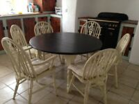 French plank dining table & chairs