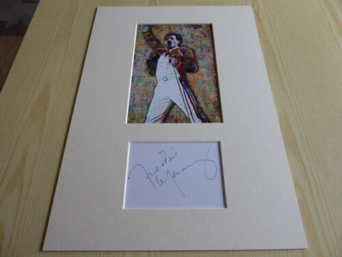 Freddie Mercury The Queen mounted photograph & preprint signed autograph card