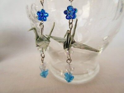 Handmade crane orizuru origami dangle earrings with the storage original Box