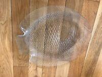 Glass fish serving dish shaped like a fish