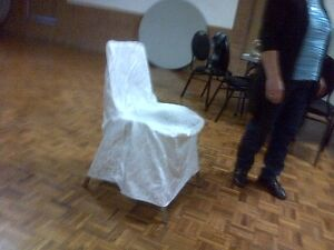 High-Quality White Satin Chair Covers W/Laces- Excellent Shape!!