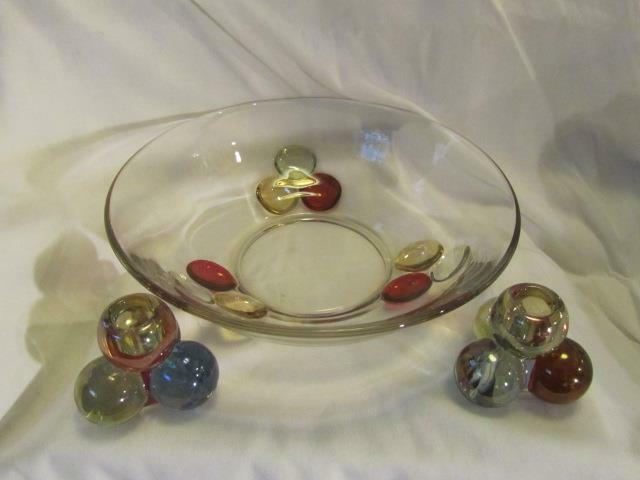 Westmoreland Three Ball Multi Color Iridescent Bowl & Candle Set