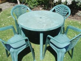GARDEN SET - TABLE AND 4 CHAIRS HEAVY DUTY PLASTIC - SUMMER FUN !!