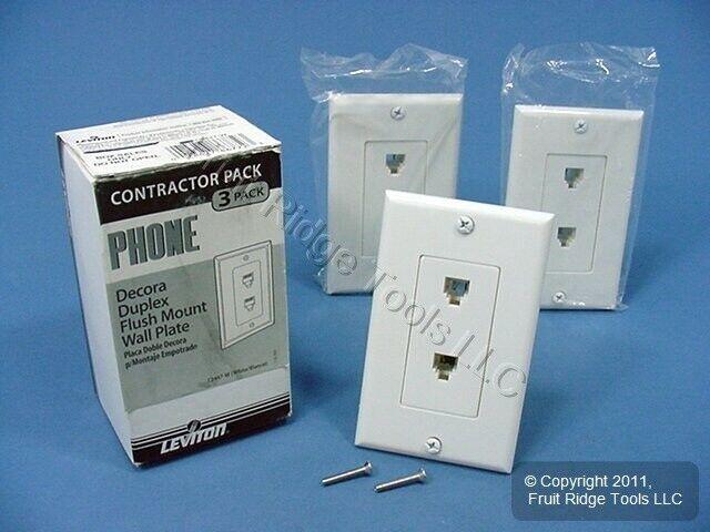 3 New Leviton White Decora DUAL Telephone Wall Plates DUPLEX Phone Jacks C2447-W