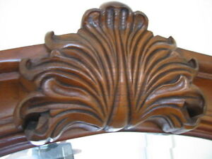 High End Stately Queen Bed and Dresser Ornate Carved detailing