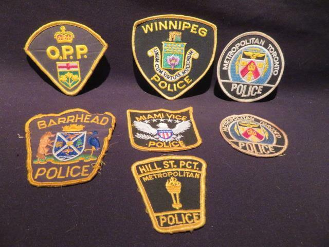 OBSOLETE Police Grouping of 7 Vintage Jacket Crests & Patches