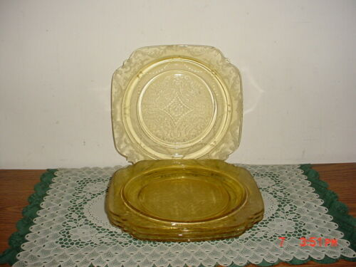 "4-PC DEPRESSION GLASS YELLOW FEDERAL MADRID 9"" DINNER PLATES/1920"
