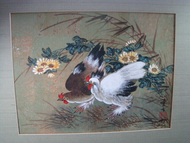 "Hui-Chi Mau Chinese Artist ""Pair Of Chickens"" Original Gouache Painting 16""x12"""