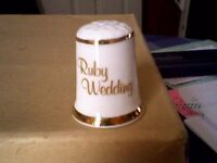 RUBY WEDDING THIMBLE - NEW/UNUSED