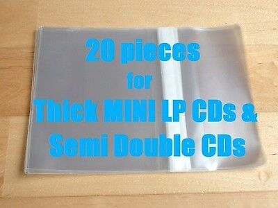 20 Pieces Resealable Outer Plastic Sleeves for FAT MINI LP & 1.5 Semi Double CDs