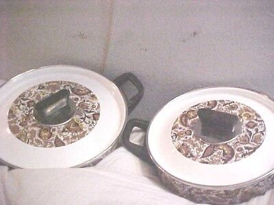Set Mid Century Retro  Brown BLACK Enamel Cookware FRYING Pan w/lid Covered Pot ()