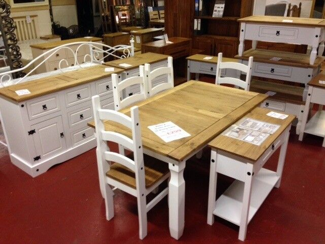 New 5ft Solid Corona dining table & 4 chairs in white or grey £299 IN STOCK NOW