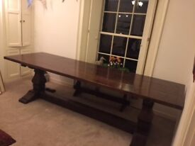 Handmade English Refectory Dining Table for sale: 9 foot X 2 foot 9 inches