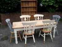 Vintage collectable Scrub top dining table and 6 chairs BARGAIN £200.00