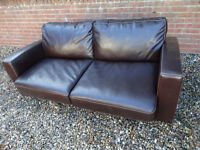 sofa bed brown leather almost new