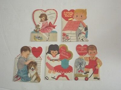 - 5 UNUSED Vintage HALLMARK VALENTINES CARDS - 3 WITH A DOG, 1 WITH CATS