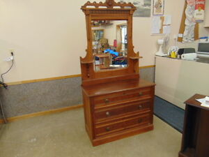 Walnut Victorian Dresser  with Mirror 1880s