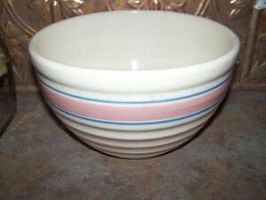 Banded Beehive Mixing Bowl USA Pottery Pink and Blue Early McCoy