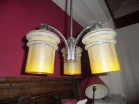 Retro / Vintage 3 arm Light Fitting with original glass shades