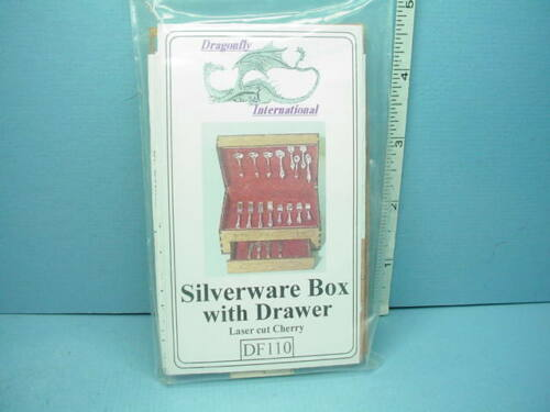 Miniature Silverware Box with Drawer Kit #DF110 Cherry Wood