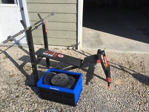 Workout bench, bar, and weights