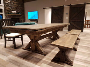 FARM HOUSE DINNING TABLE and BENCHES