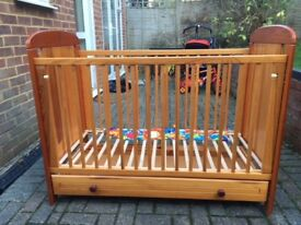 Children's Wooden Cot (Good Condition) with Drawer- Mama's and Papas. * FREE COLLECTION.