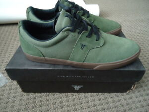 BRAND NEW NICE OLIVE GREEN SUEDE SKATER SHOES FALLEN BRAND