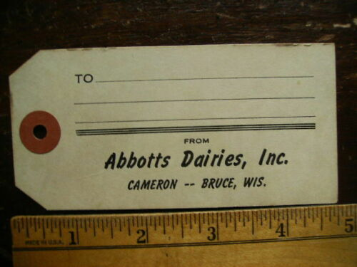 ABBOTTS DAIRIES CAMERON & BRUCE WI VINTAGE MILK CAN OR MILK CRATE SHIPPING TAG