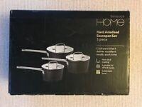 Sainsbury's Home Hard Anodised Saucepan Set 3 piece– NEW & UNUSED IN ORIGINAL PACKAGING