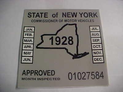 new york 1928 inspection sticker windshild model a