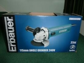 ERBAUER 115mm 240V ANGLE GRINDER ERB666GRD, NEW, UN-NEEDED GIFT, I ALREADY HAVE TWO ANGLE GRINDERS!