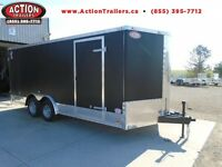 ENCLOSED 8 X 18' CARGO - WEDGE NOSE - MATTE BLACK ATLAS