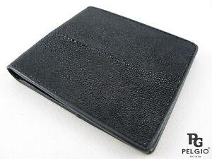 PELGIO Real Genuine Stingray Shagreen Skin Leather Men's Bifold Wallet All Black