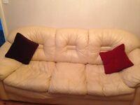 Cream leather three piece suite