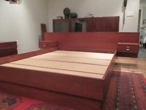 Mid-Century Modern Teak Bed Frame with Floating Tables - Queen
