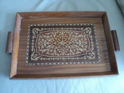Vintage Sorrento Italian Wooden Inlaid Tray floral decoration 35cm X 25cm