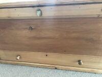 Vintage Pine Ottoman Storage Box Trunk Large