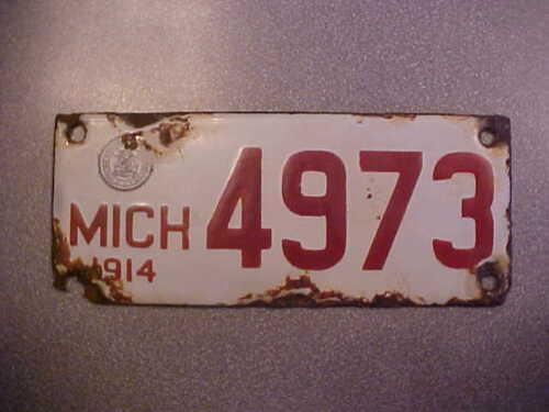 1914 MICHIGAN  MOTORCYCLE PORCELAIN LICENSE PLATE TAG