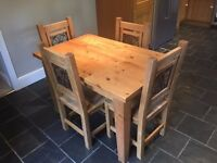 Solid Pine Dining Table and four chairs