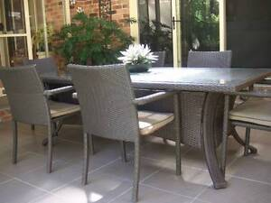 DINING SET OUTDOOR ,GLASS TABLE PLUS 6 CHAIRS, WICKER, EXC. COND Mona Vale Pittwater Area Preview