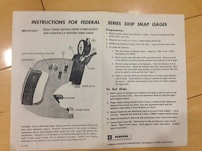 FEDERAL MODEL 300P-13 SNAP GAGE