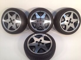 "RIAL 4X100, 15"", 6.5J. Deep dish alloy wheels, MINT CONDITION, Polished, NEW tyres tm"